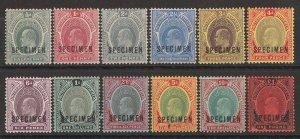 SOUTHERN NIGERIA : 1907 KEVII New Colours set ½d-£1, SPECIMEN. MNH **.