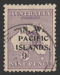 NEW GUINEA - NWPI 1915 Kangaroo 9d violet 1st wmk, type a.