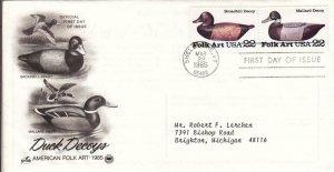 1985, Duck Decoys-Broadbill, Mallard, Artcraft, FDC (D8327)