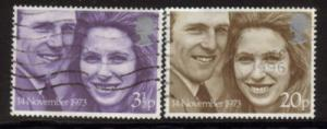 Great Britain Sc 707-8 1973 Royal Wedding stamps used