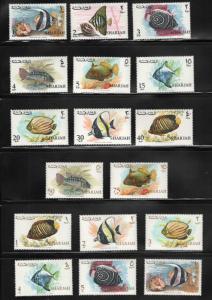Sharjah  MNH**  Fish set SG206-222, Mi229-245