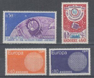 Andorra, French Sc 154//197 MLH/MNH. 1962-1970 issues, 3 complete sets