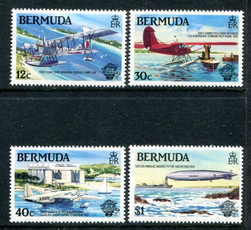 Bermuda 441-44 MNH Manned Flight Bicentenary 1983 Flights Curtiss Jenny. x11657