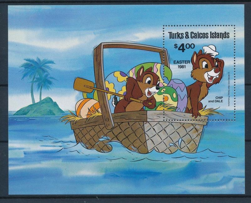 [35464] Turks & Caicos 1981 Disney Easter Chip and Dale S/S MNH