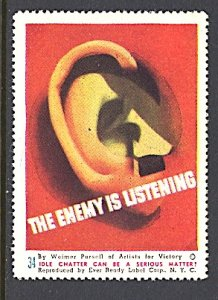 USA World War II Patriotic Cinderella Artists for Victory The Enemy is Listening