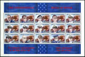 ST. Vincent SPECIMEN Heroes of Pearl Harbor Souvenir Sheet Medal of Honor MNH