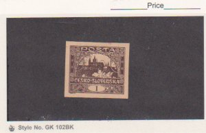 Czechoslovakia Hradcany Mi.# 23 Proof  Dark Brown Color on Tan Paper MH