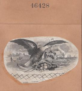 EAGLE WITH SHIELD, SHIPS, FRUITS, & FARM VIGNETTE T.C.Co. W/ PLATE #46428 BN6866