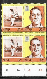 Nevis #390  $1.20 Leaders of the World  Margin block of 4 (MNH) ...