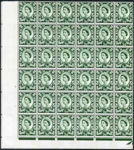 XS21 9d Bronze Green No Wmk 2 Violet Phosphor Bands Cyl 1 No Dot Block 72