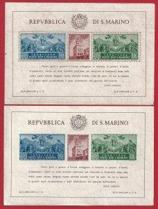 1945 San Marino, Bf N°6/7 Palazzo Del Government MNH