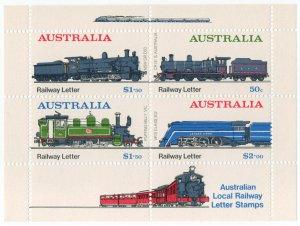 (I.B) Australia Cinderella : Local Railways Mini-Sheet
