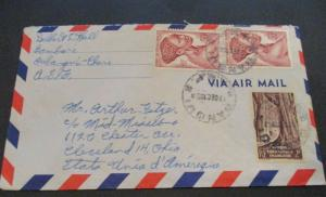 1953 French Equatorial Africa Cleveland Ohio USA Mid Missionary Airmail Cover