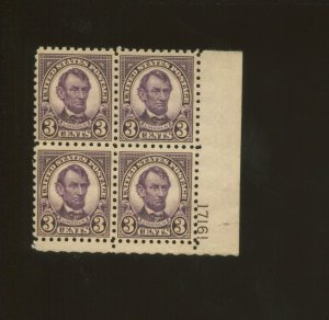 United States Postage Stamp #584 MLH VF Plate No. 17161 Block of 4