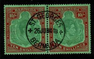 BERMUDA SG119a 1939 10/= BLUISH-GREEN & DEEP RED/GREEN FINE USED PAIR