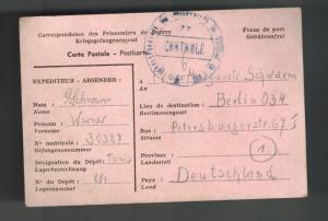 1945 Tunisia Prisoner of War POW Camp 16 Postcard Cover Germany Werner Schwarm