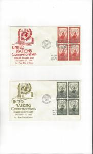 United Nations 29-30 BL4 Human Rights Anderson FDC Cachet