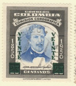 Colombia 1959 20c on 24c Fine Used A8P55F102