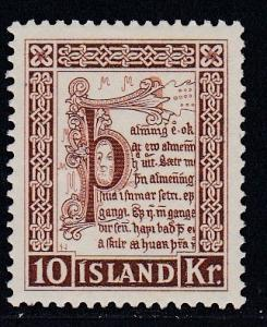 Iceland  #282, Corner from Law Manuscript, Hinged, Third Cat