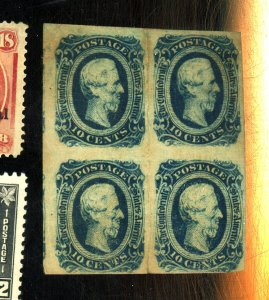 CSA #12d MINT BLOCK F-VF OG HR CREASE BETWEEN STPS