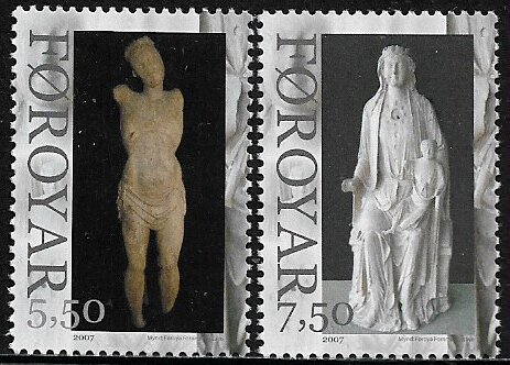 Faroe Is #492-3 MNH Stamp - Wooden Religious Statues
