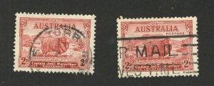 AUSTRALIA TWO USED PREDECIMAL STAMPS-FAUNA SHEEP - 1934.