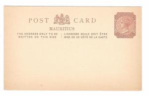 Mauritius British Colony 2 cent QV Unused Postal Stationery Card