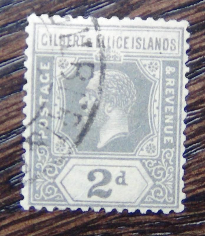 Gilbert & Ellice 1922-27 2d Slate Grey Used SG30 Cat £45