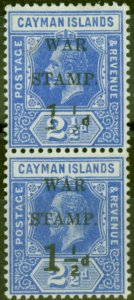 Cayman Islands 1917 1 1/2d on 2 1/2d Dp Blue SG54a No Fraction Bar in Pair with