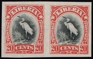 Liberia #106a Egret Red Trial Color Proof Imperf Pair;  MNG (5Stars)