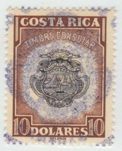 Costa Rica Cinderella or Revenue stamp 11-9 --- $10 Consular