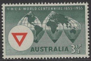 AUSTRALIA SG286 1955 WORLD CENTENARY OF YMCA MNH