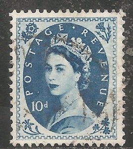 Great Britain Stamp - Scott #304/A130 10p Royal Blue Canc/LH 1954