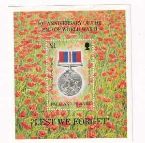 FALKLAND ISLANDS 30th ANNIVERSARY OF THE END OF WW11 VF-MNH S/SHEET