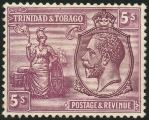 TRINIDAD & TOBAGO-1922-28 5/- Dull Purple & Mauve Sg 228 MOUNTED MINT V48458