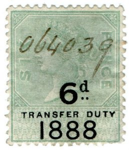 (I.B) QV Revenue : Transfer Duty 6d (1888)