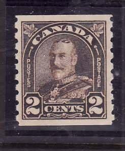 Canada-Sc#182- id5-Unused NH og 2c KGV Arch/Leaf coil-1930-31-