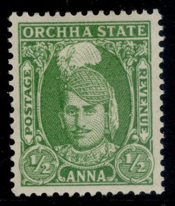 INDIAN STATES - Orchha GVI SG32, ½a yellow-green, M MINT.
