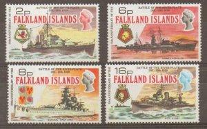 FALKLAND ISLANDS SG307/10 1974 BATTLE OF THE RIVER PLATE MTD MINT