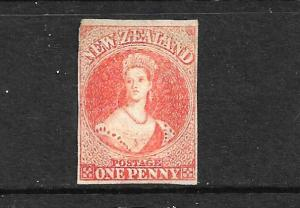 NEW ZEALAND 1862-64 1d ORANGE VERMILLION  FFQ  IMPERF MNG  CP A1E2  SG 33 CHALON
