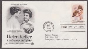1824 Hellen Keller ArtCraft FDC with neatly typewritten address