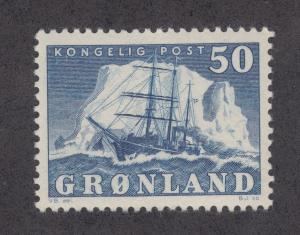 Greenland Sc 35 MLH. 1950 50o Polar Ship Gustav Holm, VF