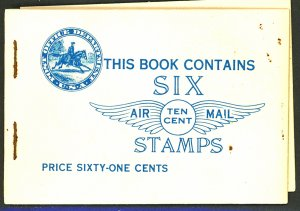 U.S. #C10a BOOKLET ONLY 1 PANE SEPERATED COVER