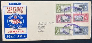1955 Kingston Jamaica First Day Cover To Sandwich England Tercentenary Year