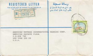 Kuwait 250f Sief Palace c1982 G.P.O. Kuwait Airmail Registered to New York, N...