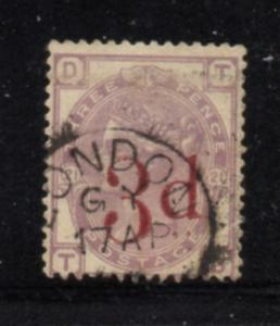 Great Britain Sc 94 1883 3d on 3d Victoria stamp used