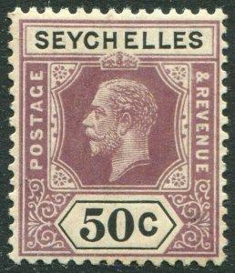 SEYCHELLES-1920 50c Dull Purple & Black Sg 92 LIGHTLY MOUNTED MINT V48889