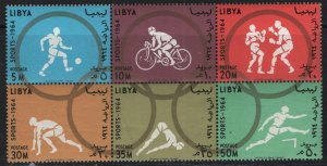 LIBYA, 263A, BLOCK OF 6, MNH, 1964 18th Olympic games
