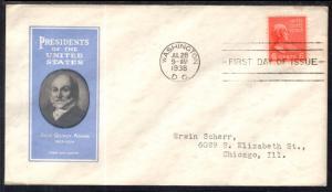 US 811 John Quincy Adams Ioor Typed FDC