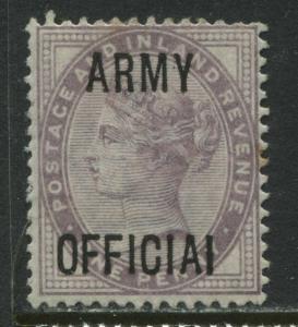 QV 1d lilac Official overprint misspelt ARMY OFFICIAI mint o.g.